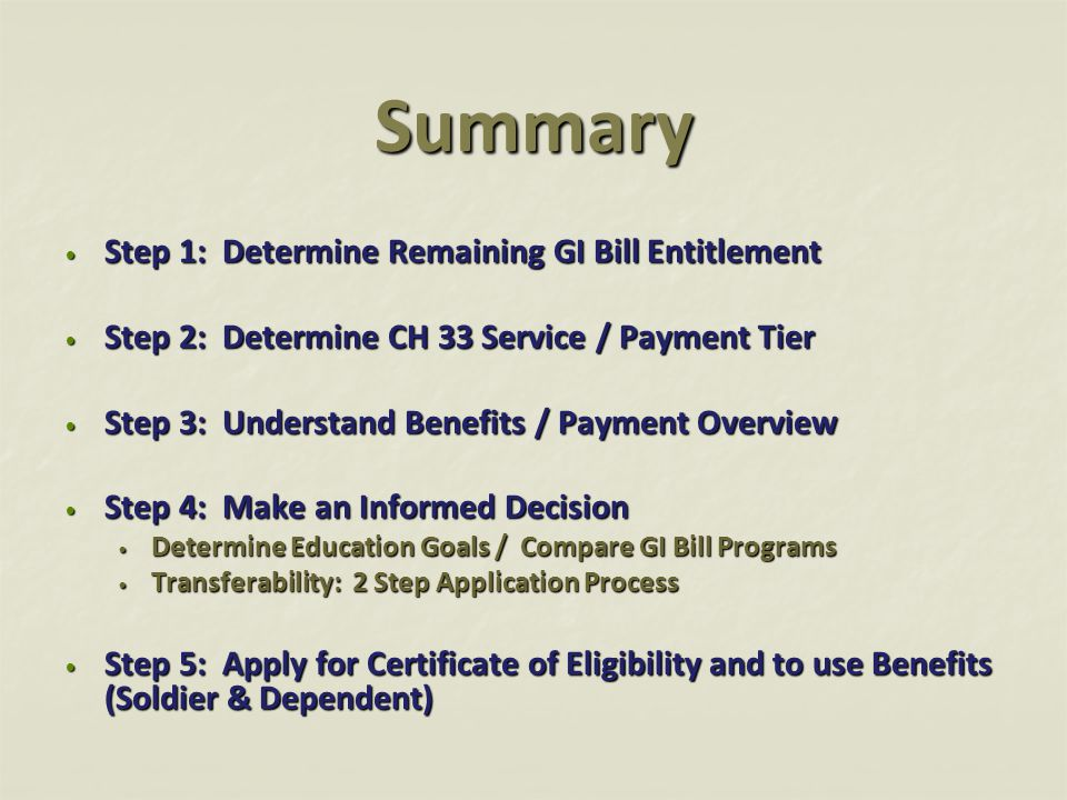 Summary Step 1: Determine Remaining GI Bill Entitlement Step 1: Determine Remaining GI Bill Entitlement Step 2: Determine CH 33 Service / Payment Tier