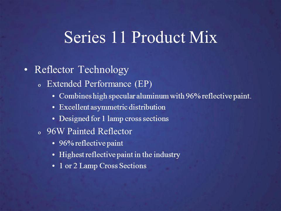 Series 11 Product Mix Reflector Technology o Extended Performance (EP) Combines high specular aluminum with 96% reflective paint.