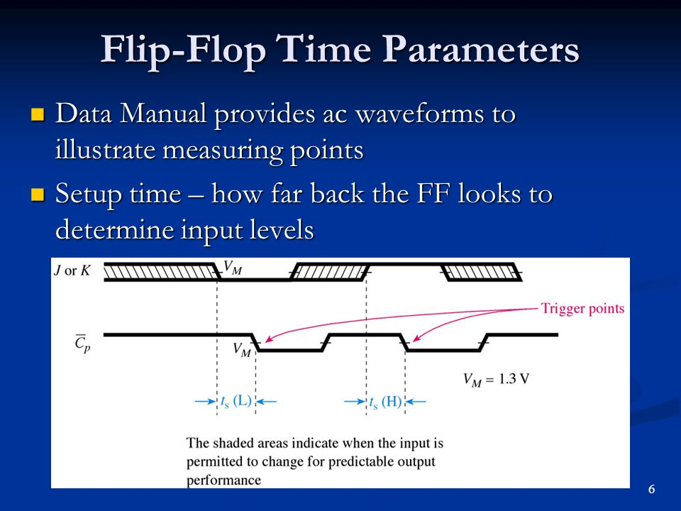 Flip-Flop Time Parameters Hold time – how long the input level must be held beyond the active clock edge Hold time – how long the input level must be held beyond the active clock edge 7
