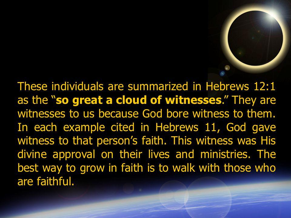 Abel Enoch Noah Abraham Sarah Isaac Jacob Moses Rahab Gideon Barak Samson Jephthah David Samuel Noah was a prophet.