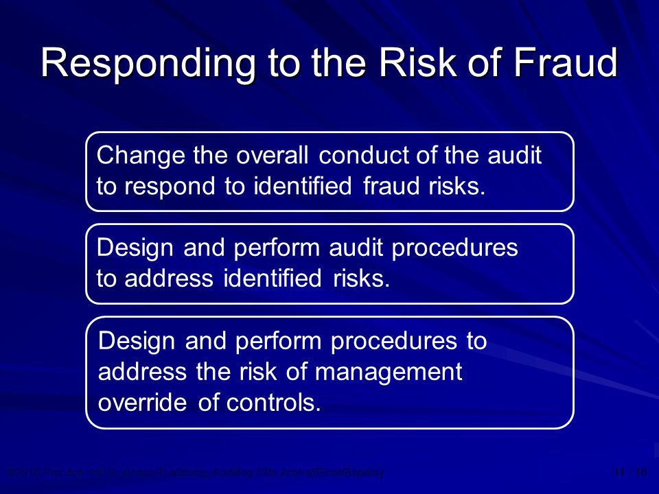 ©2010 Prentice Hall Business Publishing, Auditing 13/e, Arens//Elder/Beasley 11 - 16 Responding to the Risk of Fraud Change the overall conduct of the