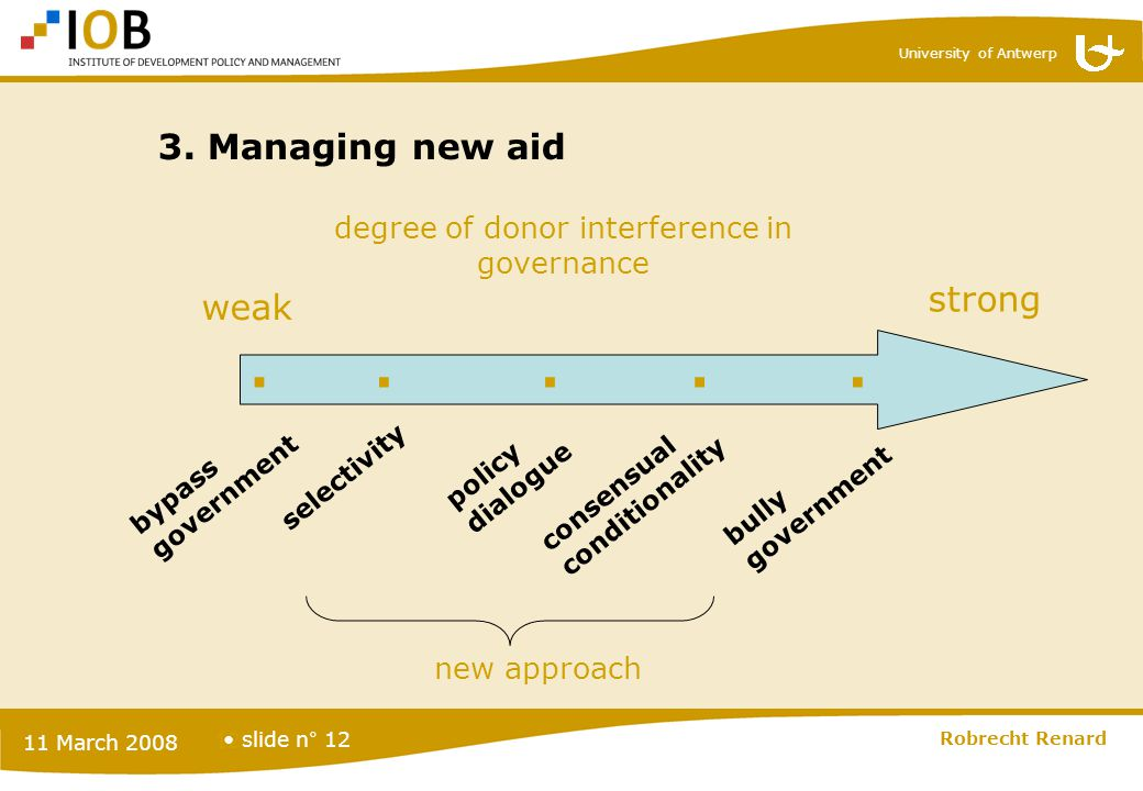 University of Antwerp slide n° 12 11 March 2008 Robrecht Renard 12 3. Managing new aid bypass government selectivity policy dialogue consensual condit
