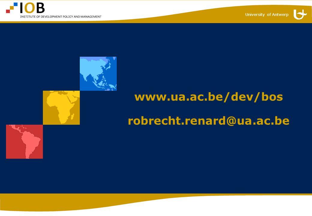 University of Antwerp www.ua.ac.be/dev/bos robrecht.renard@ua.ac.be