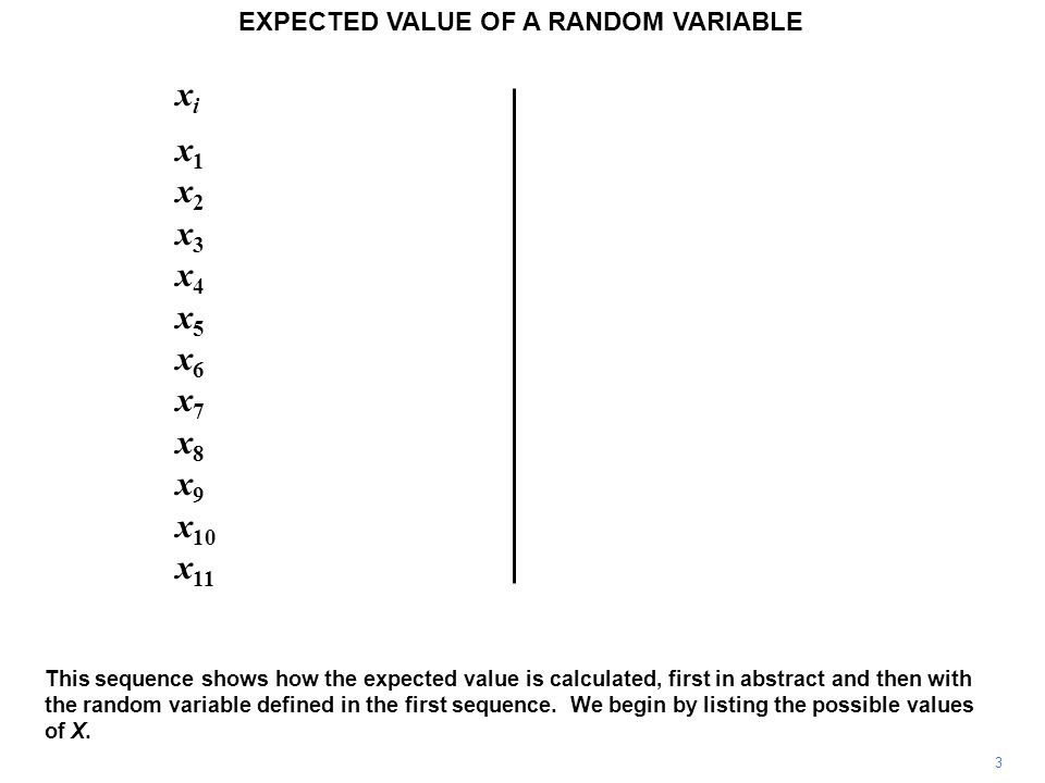 x i p i x 1 p 1 x 2 p 2 x 3 p 3 x 4 p 4 x 5 p 5 x 6 p 6 x 7 p 7 x 8 p 8 x 9 p 9 x 10 p 10 x 11 p 11 4 EXPECTED VALUE OF A RANDOM VARIABLE Next we list the probabilities attached to the different possible values of X.