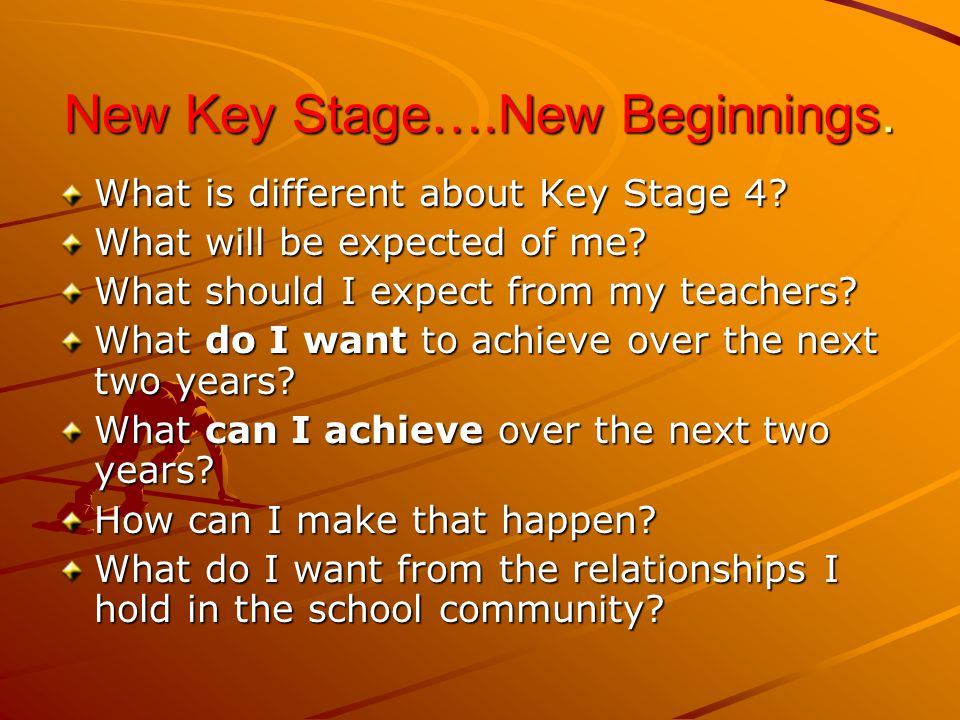 New Key Stage….New Beginnings. What is different about Key Stage 4.