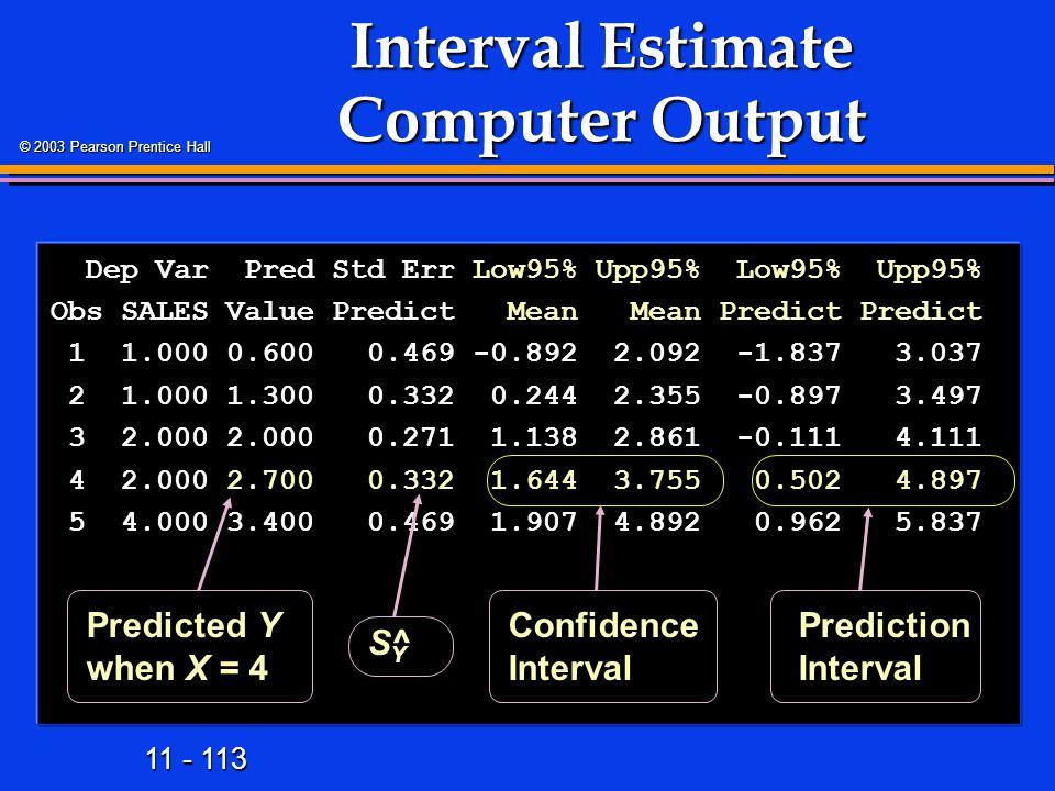 11 - 113 © 2003 Pearson Prentice Hall Interval Estimate Computer Output Dep Var Pred Std Err Low95% Upp95% Low95% Upp95% Dep Var Pred Std Err Low95% U