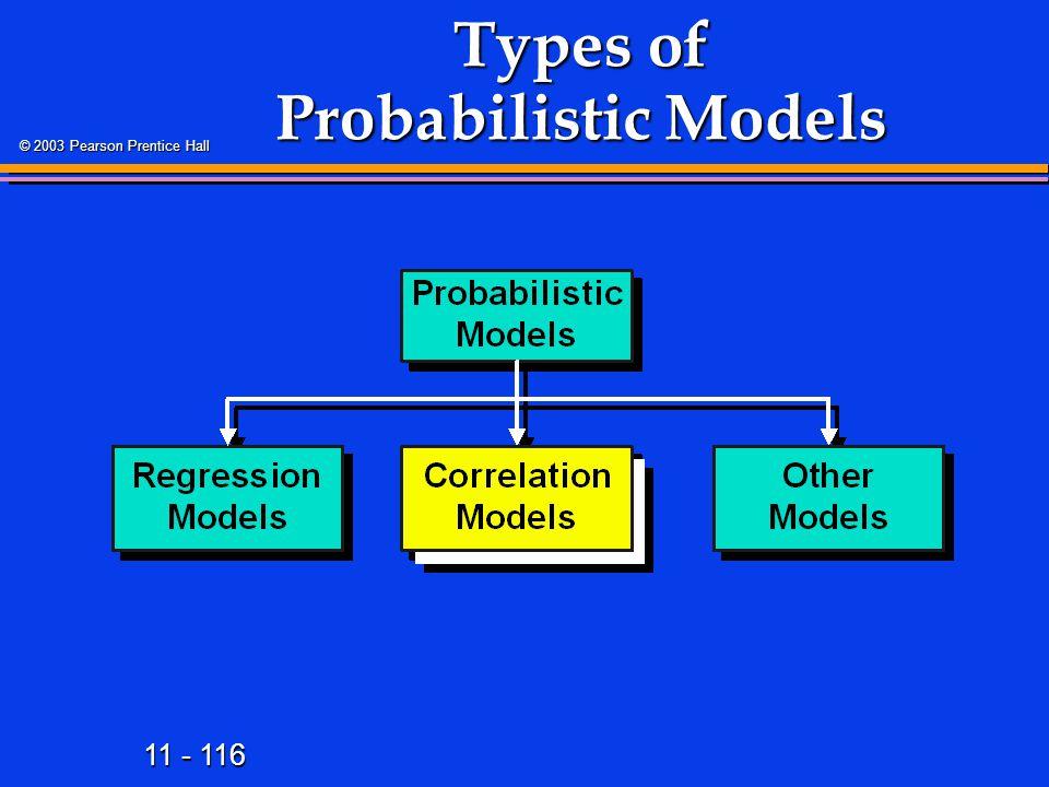 11 - 116 © 2003 Pearson Prentice Hall Types of Probabilistic Models