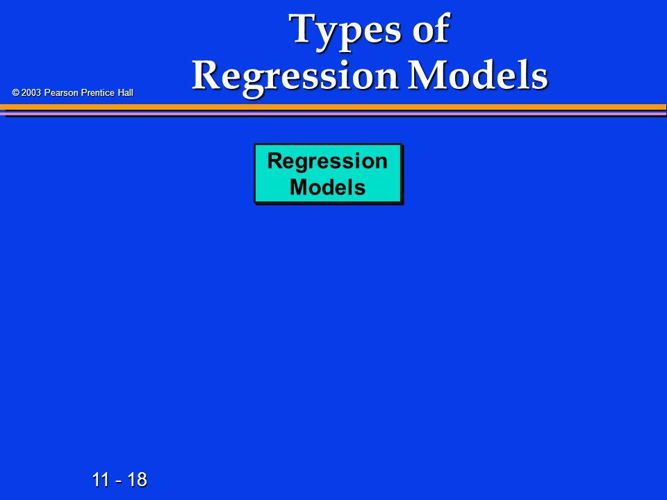11 - 18 © 2003 Pearson Prentice Hall Types of Regression Models Regression Models