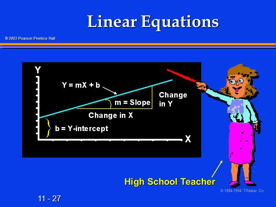 11 - 27 © 2003 Pearson Prentice Hall Linear Equations High School Teacher © 1984-1994 T/Maker Co.