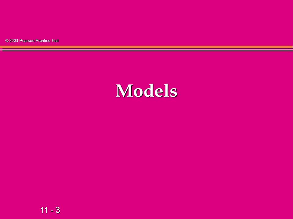 11 - 24 © 2003 Pearson Prentice Hall Types of Regression Models Regression Models Linear Non- Linear 2+ Explanatory Variables Simple Multiple Linear 1 Explanatory Variable Non- Linear