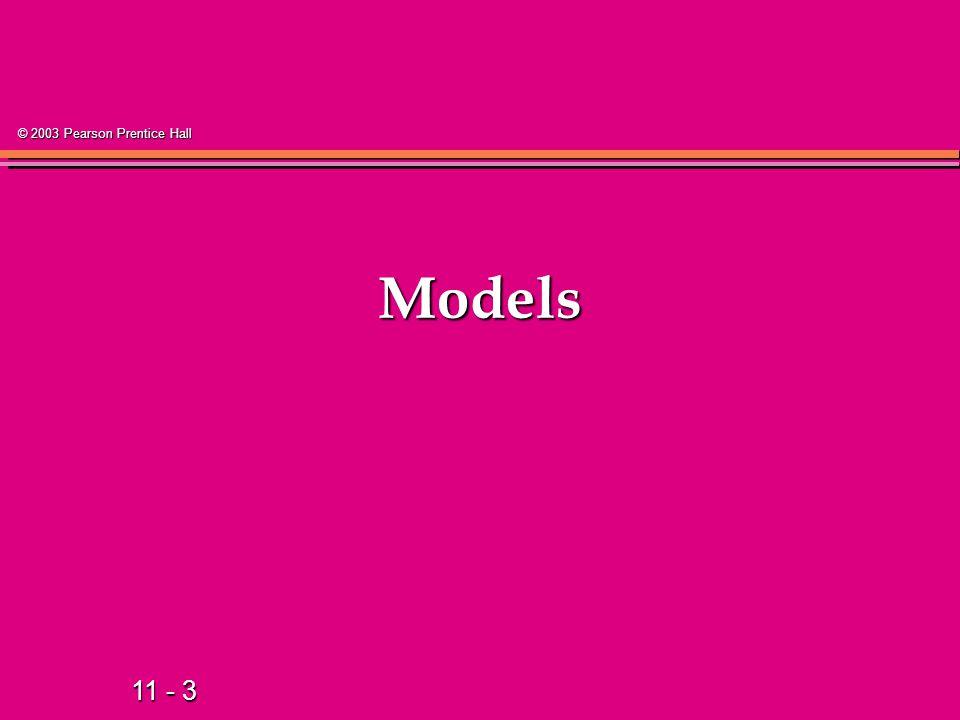 11 - 3 © 2003 Pearson Prentice Hall Models