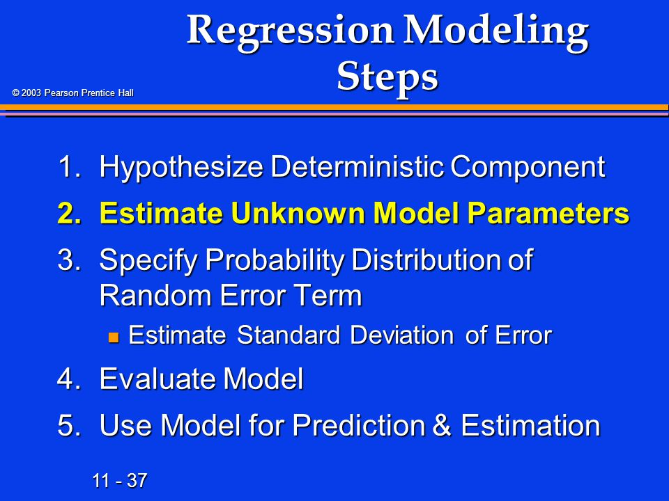 11 - 37 © 2003 Pearson Prentice Hall Regression Modeling Steps 1.Hypothesize Deterministic Component 2.Estimate Unknown Model Parameters 3.Specify Pro