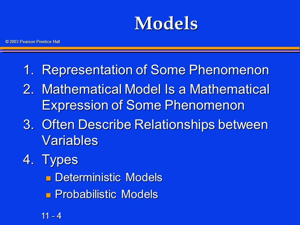 11 - 75 © 2003 Pearson Prentice Hall Regression Modeling Steps 1.Hypothesize Deterministic Component 2.Estimate Unknown Model Parameters 3.Specify Probability Distribution of Random Error Term Estimate Standard Deviation of Error Estimate Standard Deviation of Error 4.Evaluate Model 5.Use Model for Prediction & Estimation