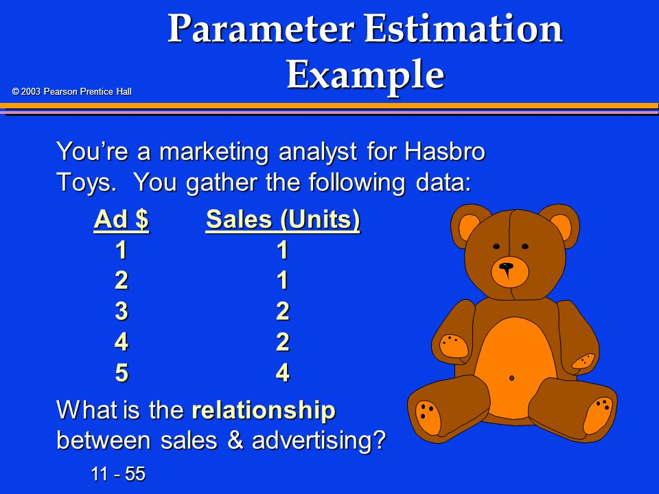 11 - 55 © 2003 Pearson Prentice Hall Parameter Estimation Example You're a marketing analyst for Hasbro Toys. You gather the following data: Ad $Sales