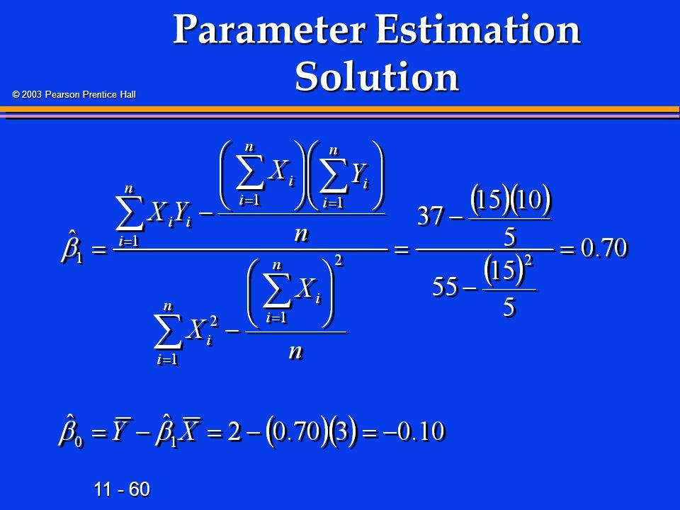 11 - 60 © 2003 Pearson Prentice Hall Parameter Estimation Solution