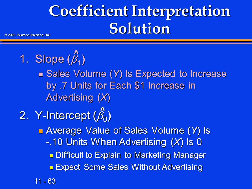 11 - 63 © 2003 Pearson Prentice Hall Coefficient Interpretation Solution 1.Slope (  1 ) Sales Volume (Y) Is Expected to Increase by.7 Units for Each