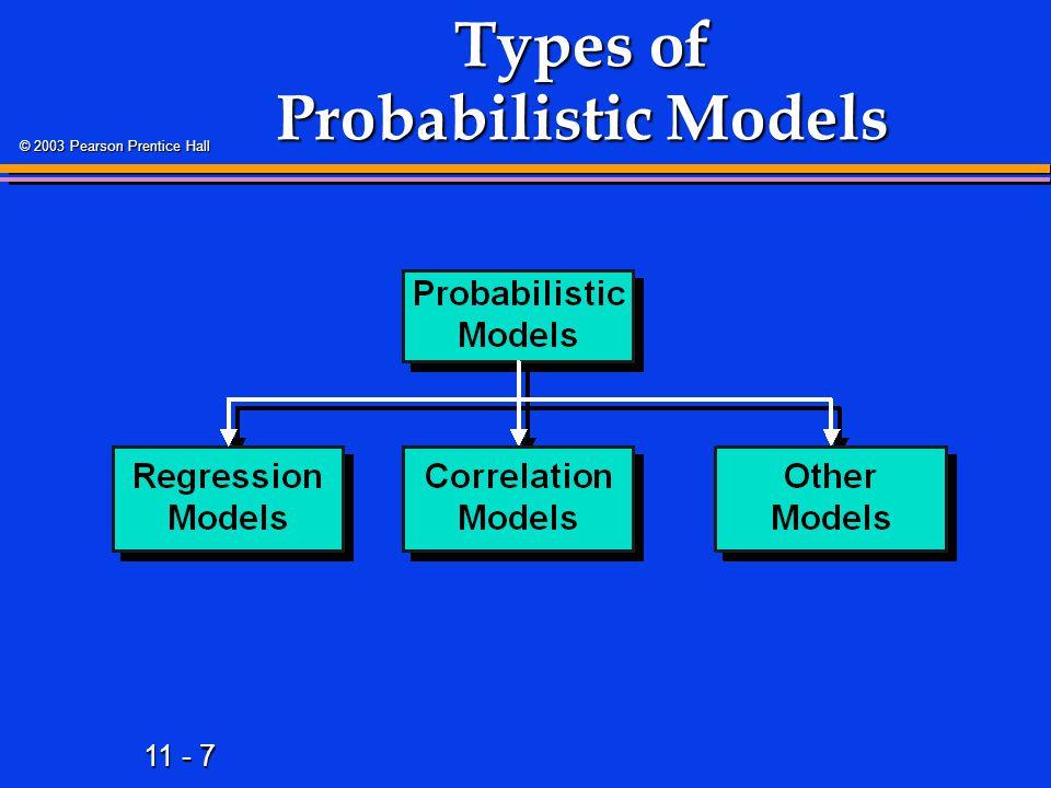11 - 7 © 2003 Pearson Prentice Hall Types of Probabilistic Models
