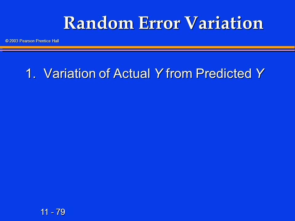 11 - 79 © 2003 Pearson Prentice Hall Random Error Variation 1.Variation of Actual Y from Predicted Y