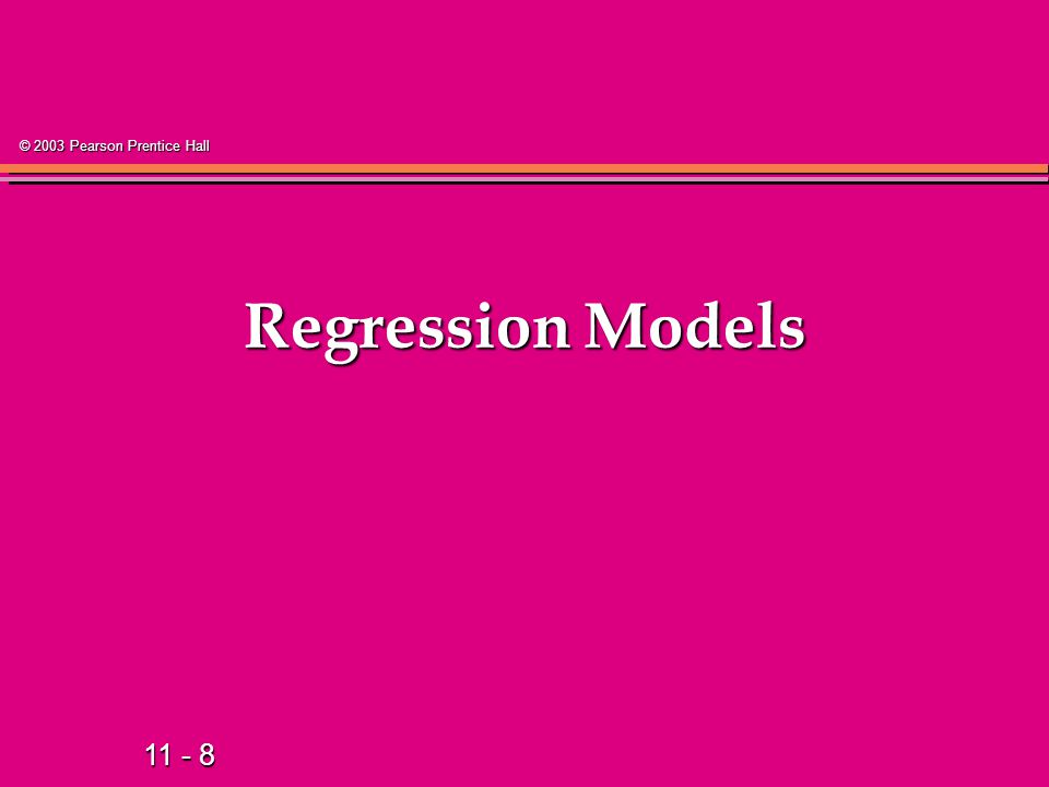 11 - 19 © 2003 Pearson Prentice Hall Types of Regression Models Regression Models Simple 1 Explanatory Variable