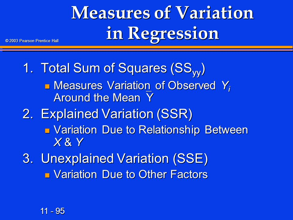 11 - 95 © 2003 Pearson Prentice Hall Measures of Variation in Regression 1.Total Sum of Squares (SS yy ) Measures Variation of Observed Y i Around the