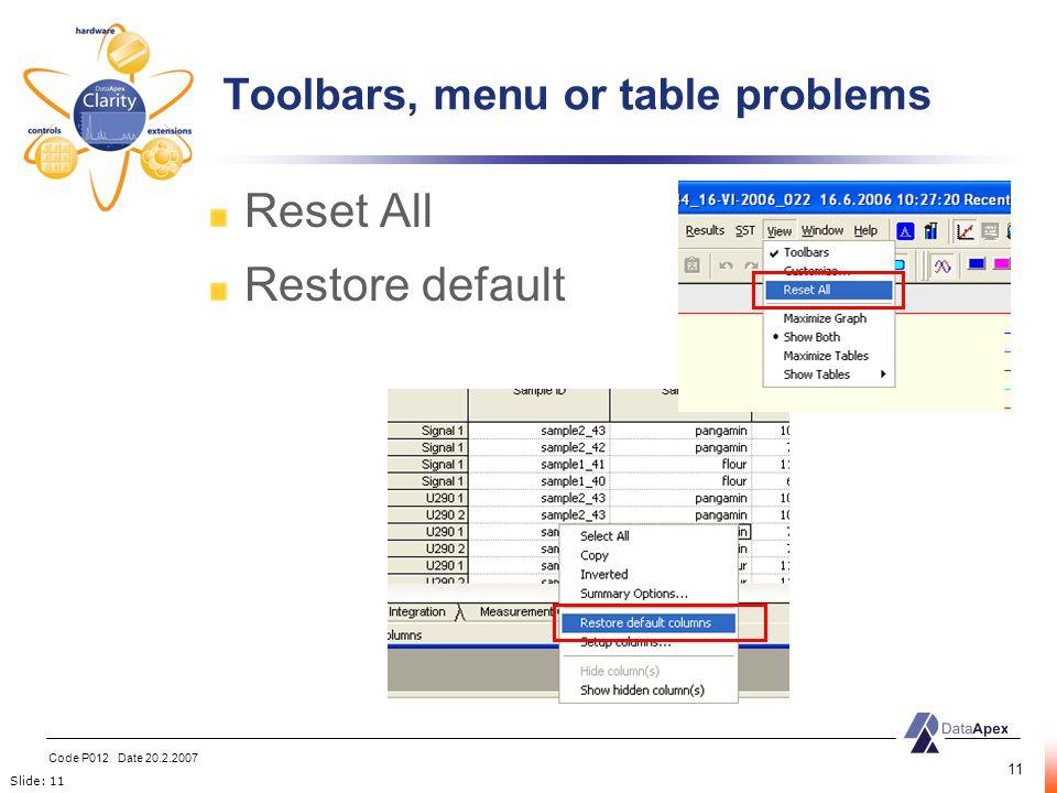 Slide: 11 Code P012 Date 20.2.2007 11 Reset All Restore default Toolbars, menu or table problems