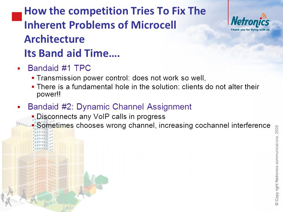 How the competition Tries To Fix The Inherent Problems of Microcell Architecture Its Band aid Time….  Bandaid #1 TPC  Transmission power control: do