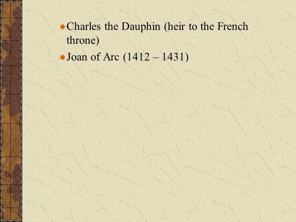 Charles the Dauphin (heir to the French throne) Joan of Arc (1412 – 1431)