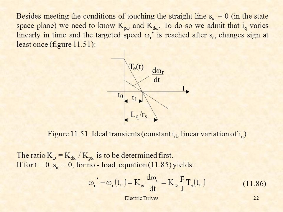 Electric Drives22 Besides meeting the conditions of touching the straight line s  = 0 (in the state space plane) we need to know K p  and K d . To