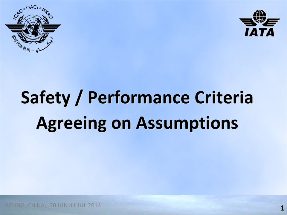 Safety / Performance Criteria Agreeing on Assumptions 1 BEIJING, CHINA; 30 JUN-11 JUL 2014