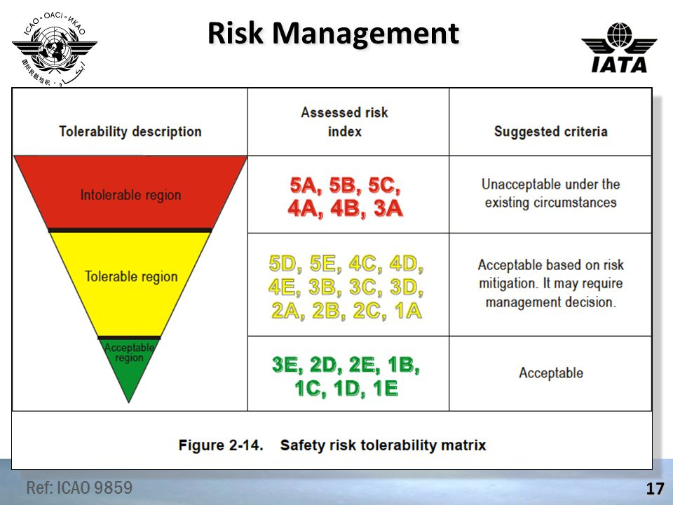 Risk Management 17 Ref: ICAO 9859