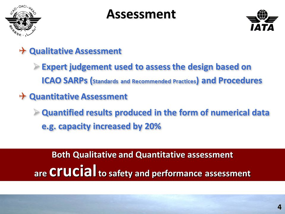 AssessmentAssessment4 QQualitative Assessment  Expert judgement used to assess the design based on ICAO SARPs ( Standards and Recommended Practices ) and Procedures QQuantitative Assessment  Quantified results produced in the form of numerical data e.g.