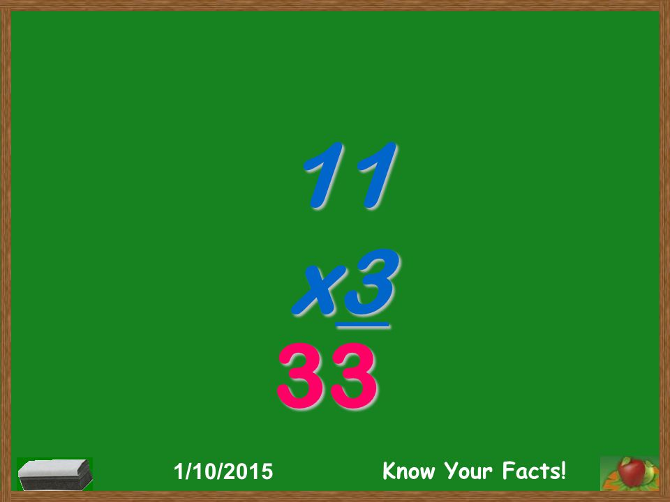 11 x3 33 1/10/2015 Know Your Facts!