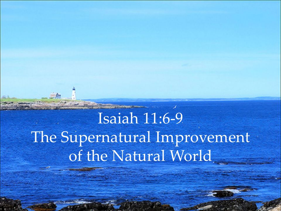 Isaiah 11:6-9 The Supernatural Improvement of the Natural World