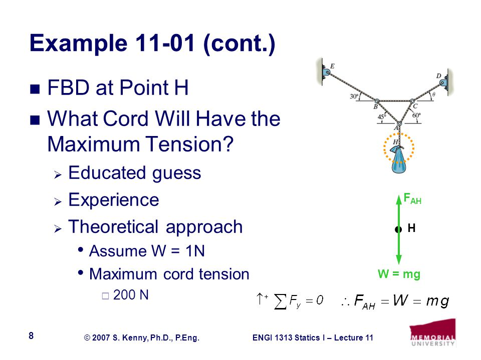 ENGI 1313 Statics I – Lecture 11© 2007 S. Kenny, Ph.D., P.Eng. 8 Example 11-01 (cont.) FBD at Point H What Cord Will Have the Maximum Tension?  Educa