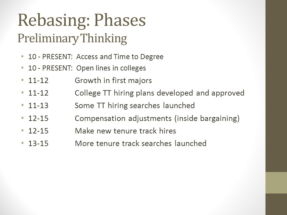 Rebasing: Phases Preliminary Thinking 10 - PRESENT: Access and Time to Degree 10 - PRESENT: Open lines in colleges 11-12 Growth in first majors 11-12College TT hiring plans developed and approved 11-13 Some TT hiring searches launched 12-15Compensation adjustments (inside bargaining) 12-15Make new tenure track hires 13-15More tenure track searches launched