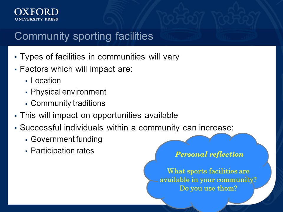Community sporting facilities  Types of facilities in communities will vary  Factors which will impact are:  Location  Physical environment  Comm