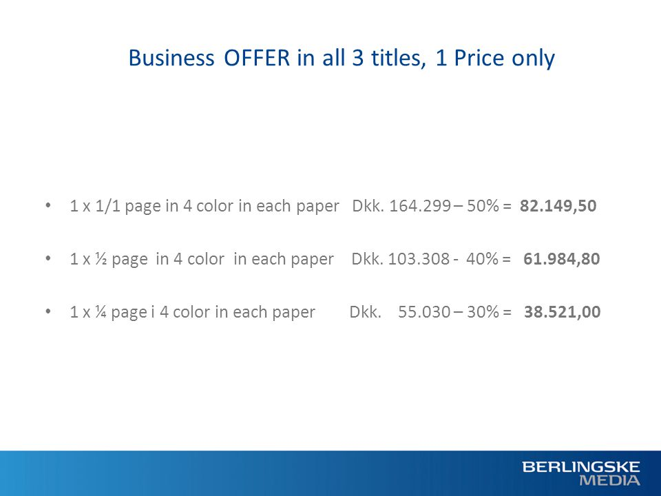 Business OFFER in all 3 titles, 1 Price only 1 x 1/1 page in 4 color in each paper Dkk.