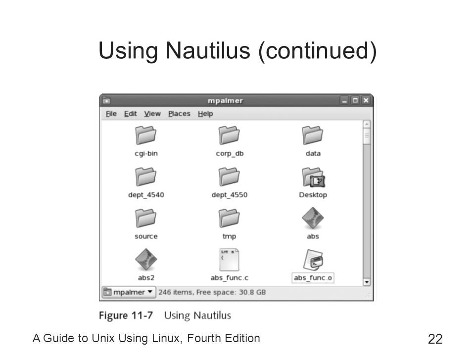 A Guide to Unix Using Linux, Fourth Edition 22 Using Nautilus (continued)
