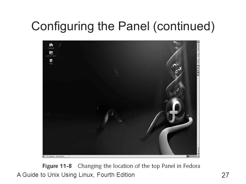 A Guide to Unix Using Linux, Fourth Edition 27 Configuring the Panel (continued)