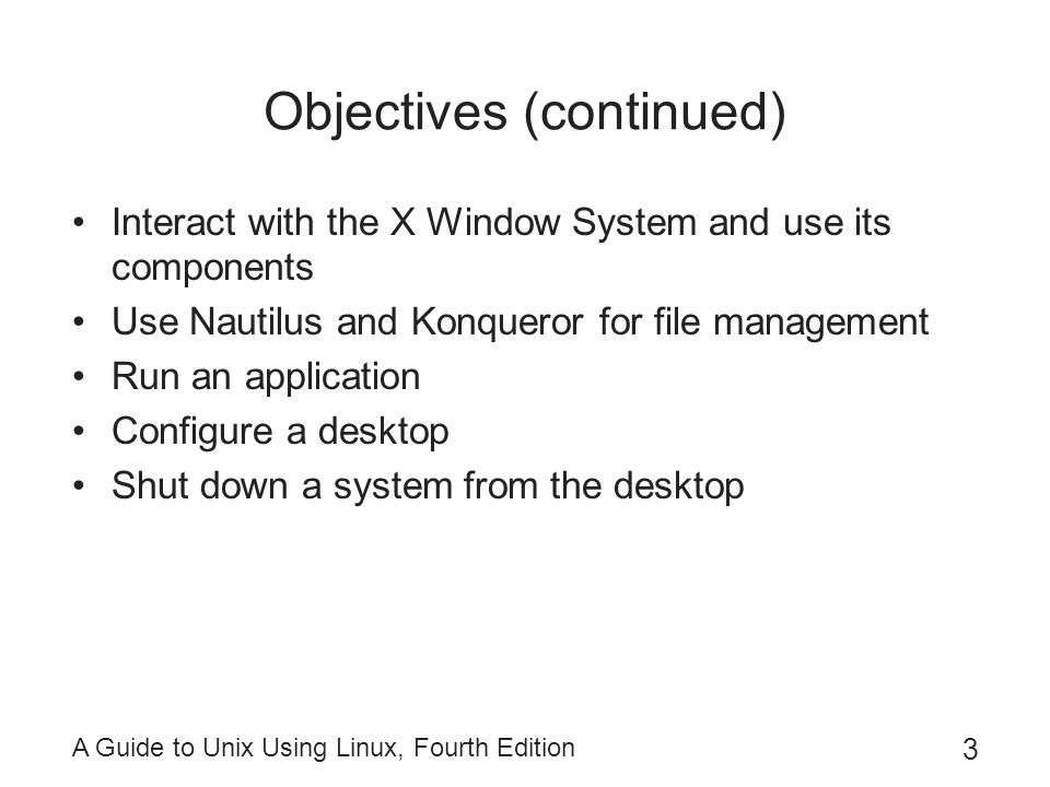 A Guide to Unix Using Linux, Fourth Edition 24 Changing the Background Background: desktop area behind all windows and icons –Is customizable: Can change color Can specify a wallpaper to be used as background –To change background in GNOME: Right-click a blank area in the desktop Select Change Desktop Background