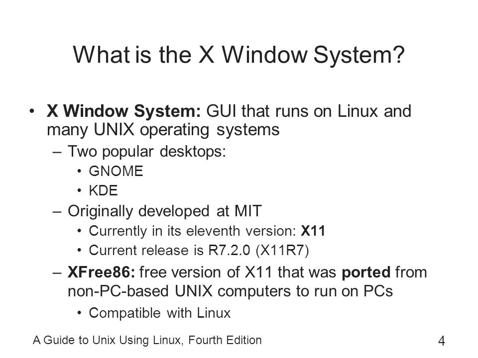 A Guide to Unix Using Linux, Fourth Edition 35 Changing the Background in KDE Right-click unused desktop area  Configure Desktop