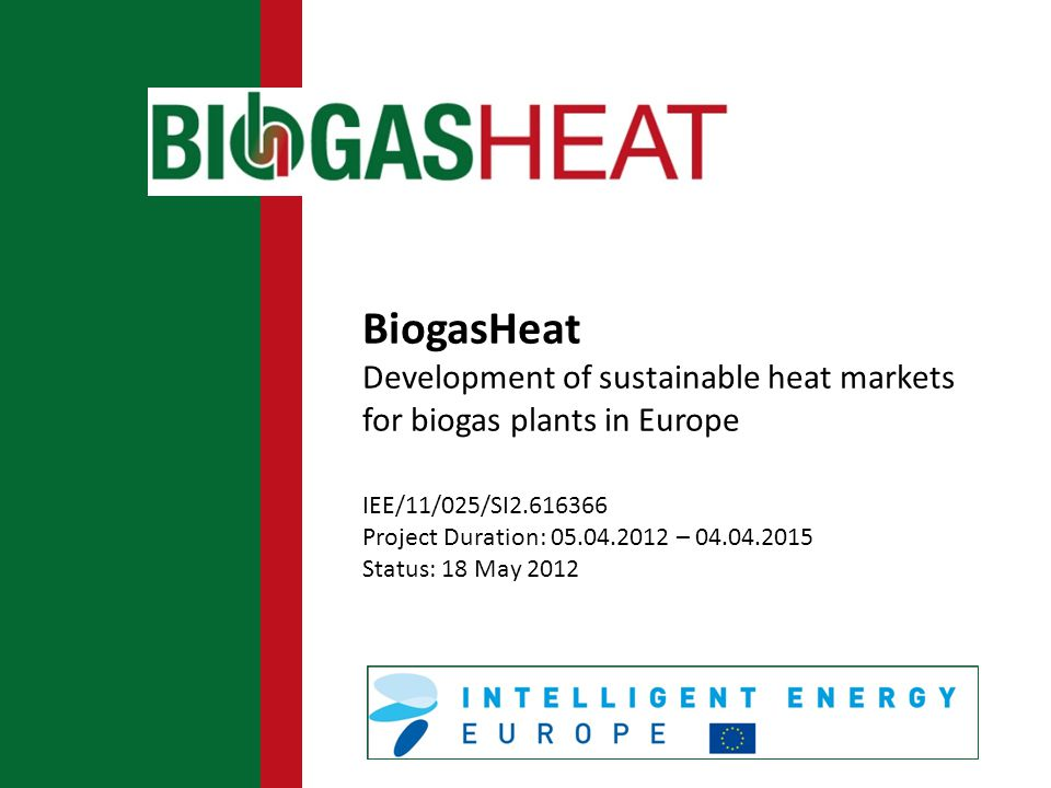 BiogasHeat Development of sustainable heat markets for biogas plants in Europe IEE/11/025/SI2.616366 Project Duration: 05.04.2012 – 04.04.2015 Status: 18 May 2012