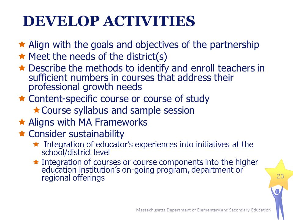 Massachusetts Department of Elementary and Secondary Education 23 DEVELOP ACTIVITIES  Align with the goals and objectives of the partnership  Meet the needs of the district(s)  Describe the methods to identify and enroll teachers in sufficient numbers in courses that address their professional growth needs  Content-specific course or course of study  Course syllabus and sample session  Aligns with MA Frameworks  Consider sustainability  Integration of educator's experiences into initiatives at the school/district level  Integration of courses or course components into the higher education institution's on-going program, department or regional offerings