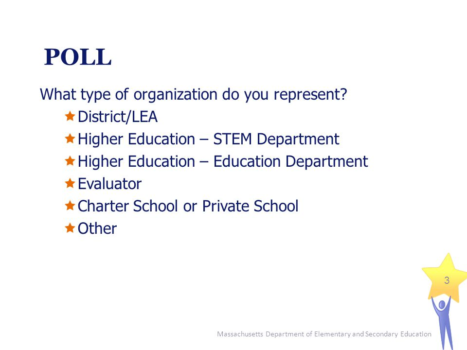 Massachusetts Department of Elementary and Secondary Education 3 POLL What type of organization do you represent.