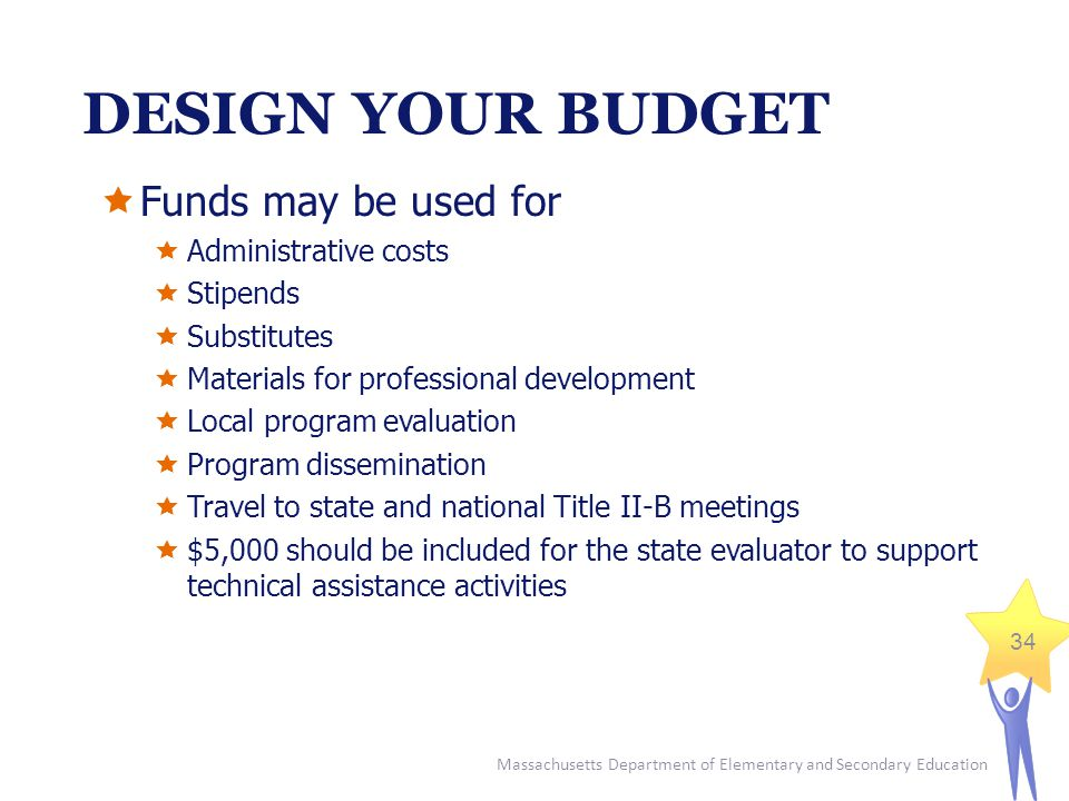 Massachusetts Department of Elementary and Secondary Education 34 DESIGN YOUR BUDGET  Funds may be used for  Administrative costs  Stipends  Substitutes  Materials for professional development  Local program evaluation  Program dissemination  Travel to state and national Title II-B meetings  $5,000 should be included for the state evaluator to support technical assistance activities