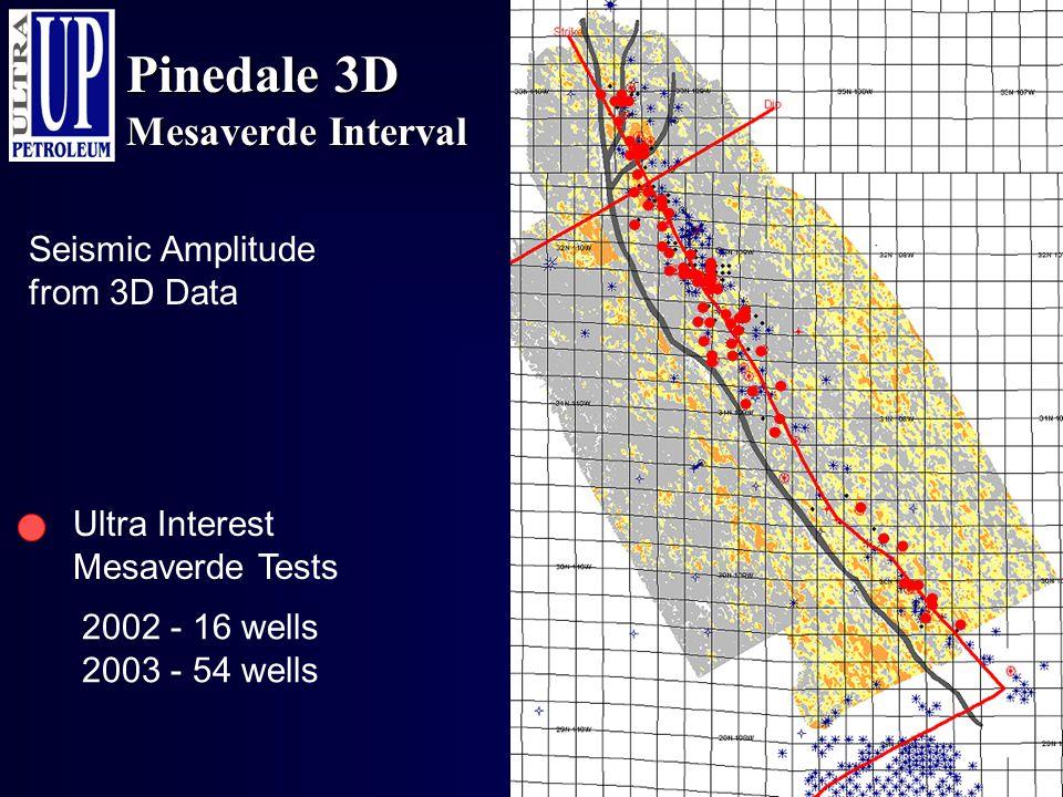 Pinedale 3D Mesaverde Interval Ultra Interest Mesaverde Tests Seismic Amplitude from 3D Data 2002 - 16 wells 2003 - 54 wells