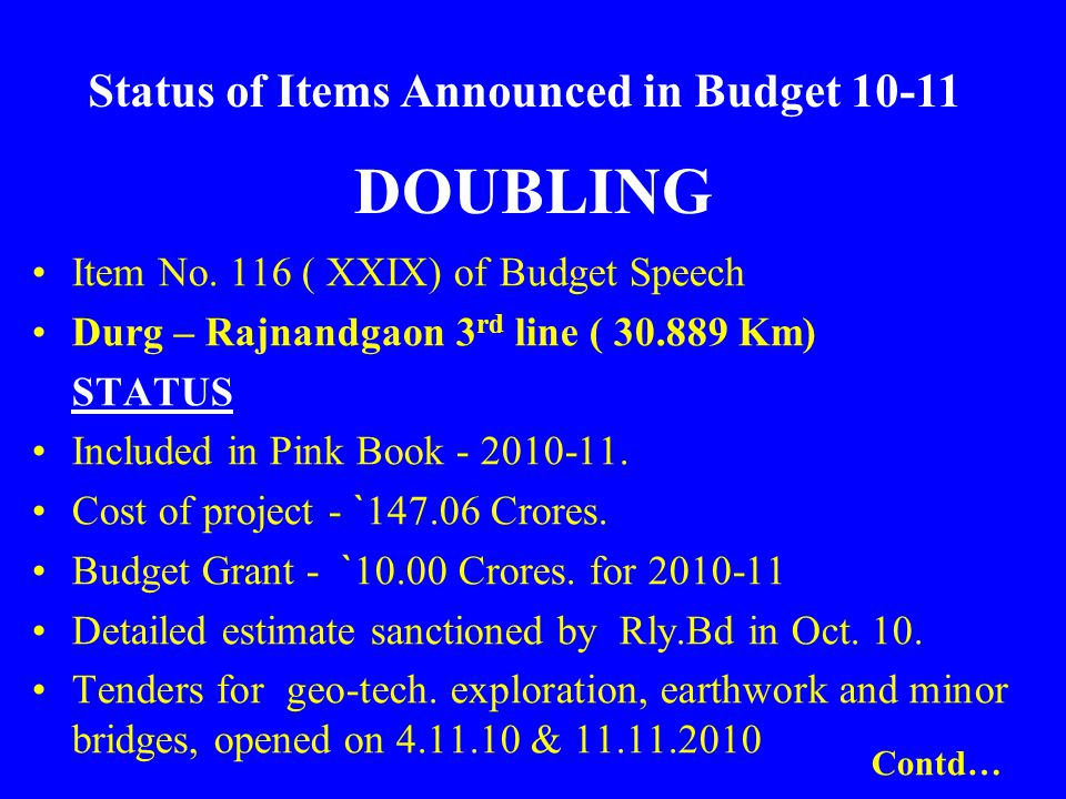 DOUBLING Item No. 116 ( XXIX) of Budget Speech Durg – Rajnandgaon 3 rd line ( 30.889 Km) STATUS Included in Pink Book - 2010-11. Cost of project - ` 1