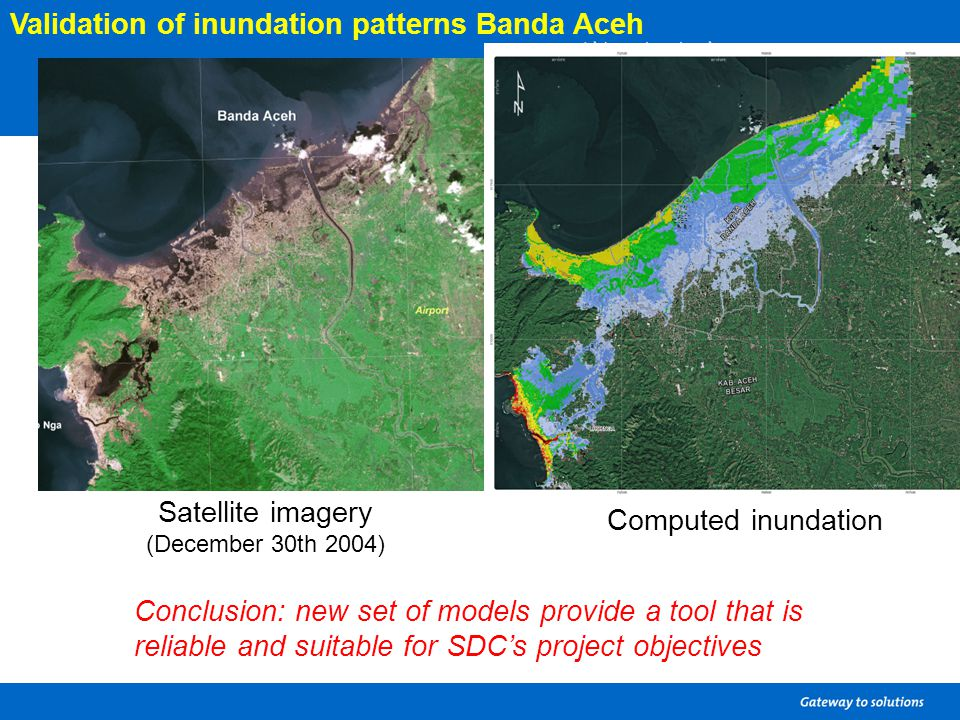 Satellite imagery (December 30th 2004) Computed inundation Validation of inundation patterns Banda Aceh Conclusion: new set of models provide a tool t