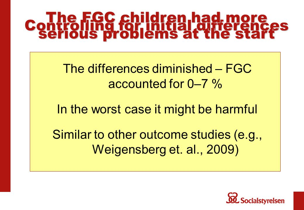 The differences diminished – FGC accounted for 0–7 % In the worst case it might be harmful Similar to other outcome studies (e.g., Weigensberg et.