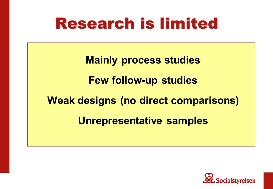 Research is limited Mainly process studies Few follow-up studies Weak designs (no direct comparisons) Unrepresentative samples